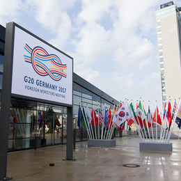 Flags in front of the World Conference Center Bonn