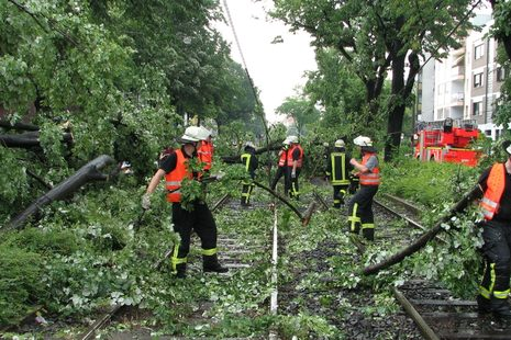 Storm damage on railway tracks